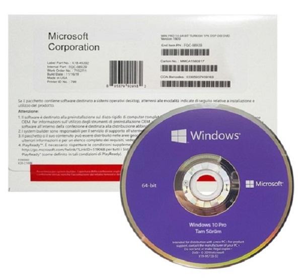 Windows 10 Pro DVD Lisans